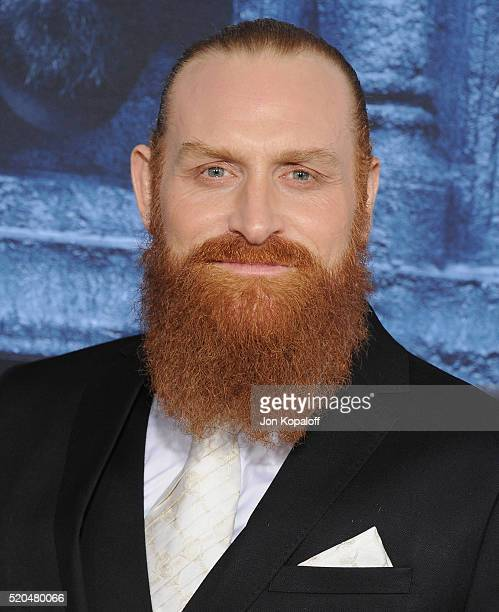 Actor Kristofer Hivju arrives at the Premiere Of HBO's 'Game Of Thrones' Season 6 at TCL Chinese Theatre on April 10 2016 in Hollywood California