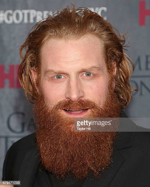 Actor Kristofer Hivju attends the Game Of Thrones Season 4 premiere at Avery Fisher Hall Lincoln Center on March 18 2014 in New York City