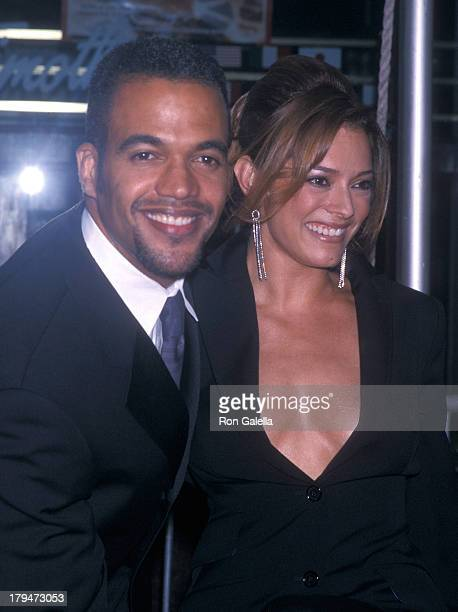 Actor Kristoff St John and girlfriend Allana Nadal attend the 28th Annual Daytime Emmy Awards on May 18 2001 at Radio City Music Hall in New York City