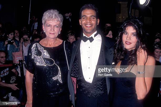 Actor Kristoff St John mother Maria and his wife Mia attend the 20th Annual Daytime Emmy Awards on May 26 1993 at the Marriott Marquis Hotel in New...