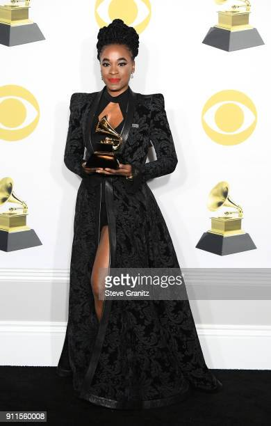 Actor Kristolyn Lloyd winner of the Best Musical Theater Album award for 'Dear Evan Hansen' poses in the press room during the 60th Annual GRAMMY...