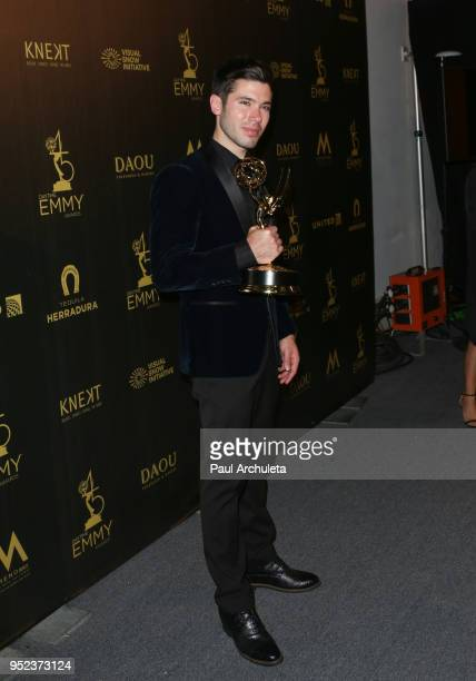 Actor Kristos Andrews attends the press room at the 45th Annual Daytime Creative Arts Emmy Awards at the Pasadena Civic Auditorium on April 27 2018...