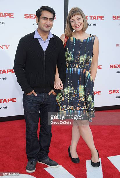 Actor Kumail Nanjiani and wife Emily V Gordon arrive at the Los Angeles premiere of 'Sex Tape' at Regency Village Theatre on July 10 2014 in Westwood...