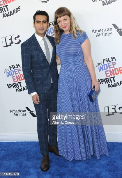 Actor Kumail Nanjiani and wife/writer Emily V Gordon arrive for the 2018 Film Independent Spirit Awards on March 3 2018 in Santa Monica California