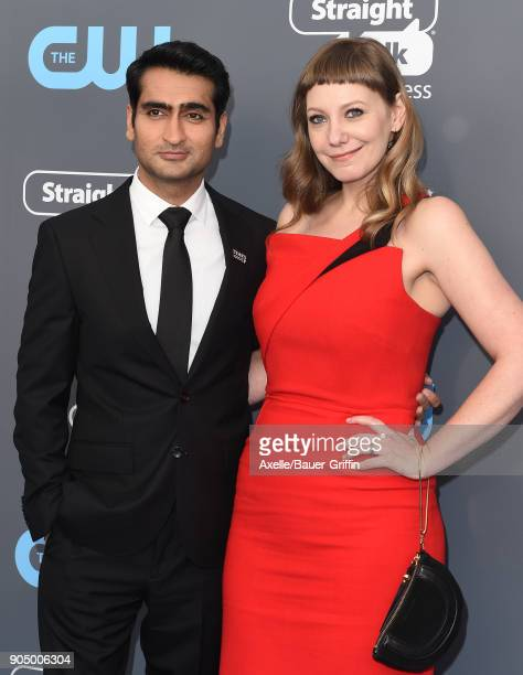 Actor Kumail Nanjiani and writer Emily V Gordon attend the 23rd Annual Critics' Choice Awards at Barker Hangar on January 11 2018 in Santa Monica...