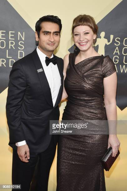 Actor Kumail Nanjiani and writer Emily V. Gordon attend the 24th Annual Screen Actors Guild Awards at The Shrine Auditorium on January 21, 2018 in...