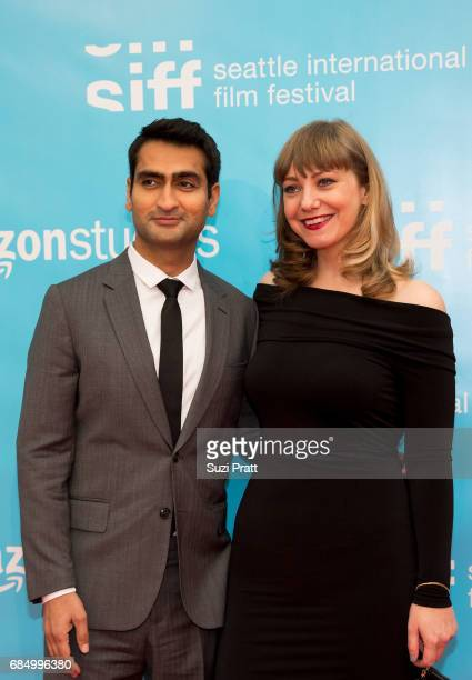 Actor Kumail Nanjiani and writer Emily V Gordon pose for a photo at the opening night gala of the Seattle International Film Festival on May 18 2017...