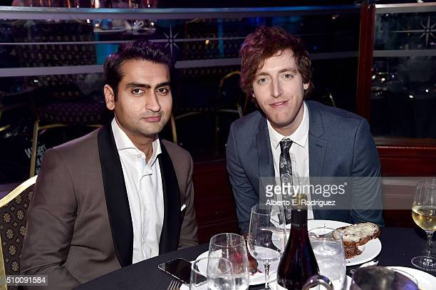 Actor Kumail Nanjiani and writer/actor Thomas Middleditch attend the 2016 Writers Guild Awards at the Hyatt Regency Century Plaza on February 13 2016...