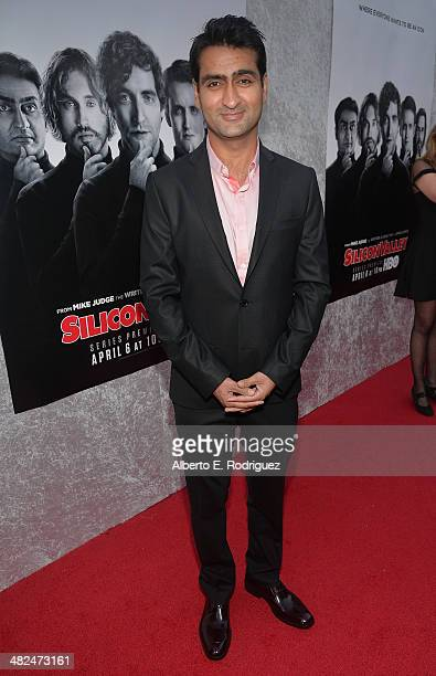 Actor Kumail Nanjiani attends the Premiere of HBO's 'Silicon Valley' at Paramount Studios on April 3 2014 in Hollywood California