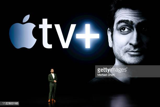 Actor Kumail Nanjiani speaks during an Apple product launch event at the Steve Jobs Theater at Apple Park on March 25 2019 in Cupertino California...