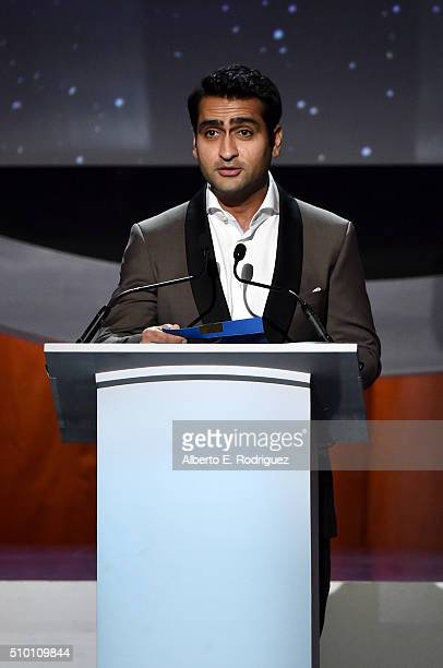 Actor Kumail Nanjiani speaks onstage during the 2016 Writers Guild Awards at the Hyatt Regency Century Plaza on February 13 2016 in Los Angeles...