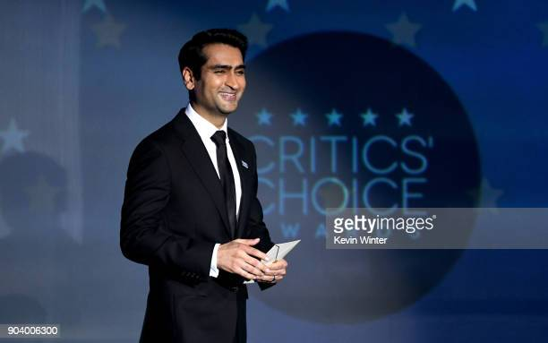 Actor Kumail Nanjiani speaks onstage during The 23rd Annual Critics' Choice Awards at Barker Hangar on January 11 2018 in Santa Monica California