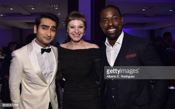 Actor Kumail Nanjiani writer Emily Gordon and actor Sterling K Brown attend the 49th NAACP Image Awards NonTelevised Award Show at The Pasadena Civic...