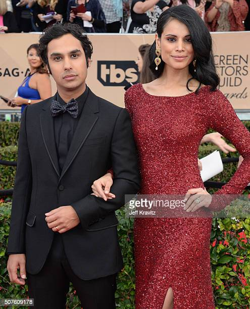 Actor Kunal Nayyar and actress Neha Kapur attend the 22nd Annual Screen Actors Guild Awards at The Shrine Auditorium on January 30 2016 in Los...