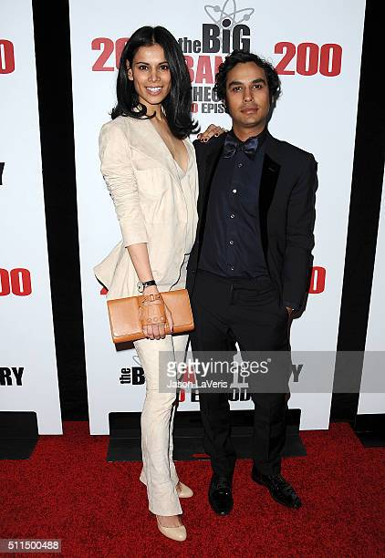 Actor Kunal Nayyar and wife Neha Kapur attend The Big Bang Theory 200th episode celebration at Vibiana on February 20 2016 in Los Angeles California
