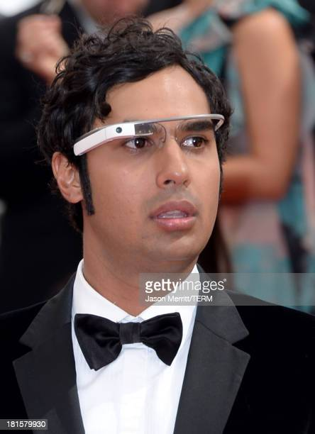 Actor Kunal Nayyar arrives wearing Google Glass at the 65th Annual Primetime Emmy Awards held at Nokia Theatre LA Live on September 22 2013 in Los...