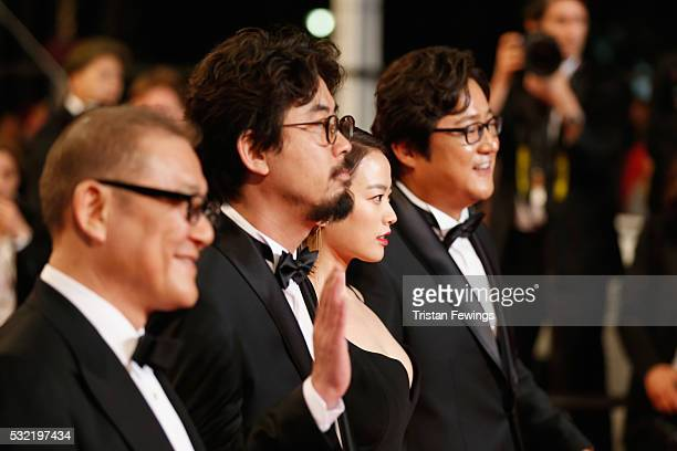 Actor Kunimura Jun director Na HongJin actress Chun Woo Hee and Actor Kwak do Won attend The Strangers Premiere during the 69th annual Cannes Film...