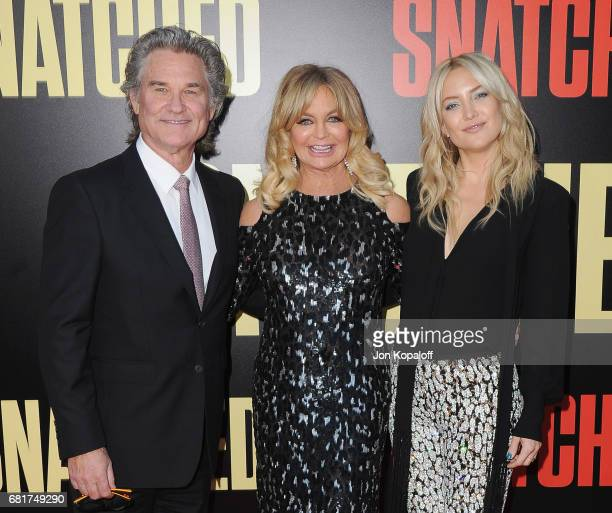 Actor Kurt Russell actress Goldie Hawn and actress Kate Hudson arrive at the Los Angeles Premiere 'Snatched' at Regency Village Theatre on May 10...
