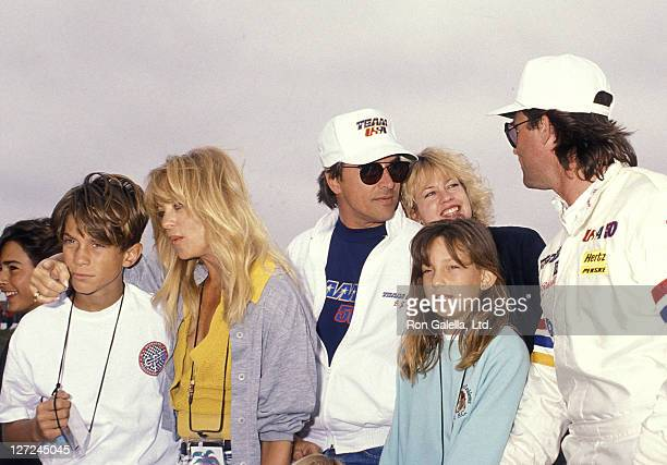 Actor Kurt Russell actress Goldie Hawn son Oliver Hudson daughter Kate Hudson actor Don Johnson and actress Melanie Griffith attend the 1990 Pacific...