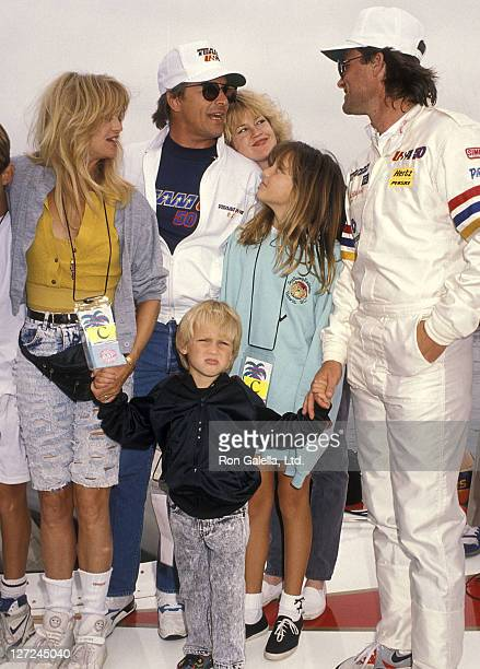Actor Kurt Russell actress Goldie Hawn son Wyatt Russell daughter Kate Hudson actor Don Johnson and actress Melanie Griffith attend the 1990 Pacific...