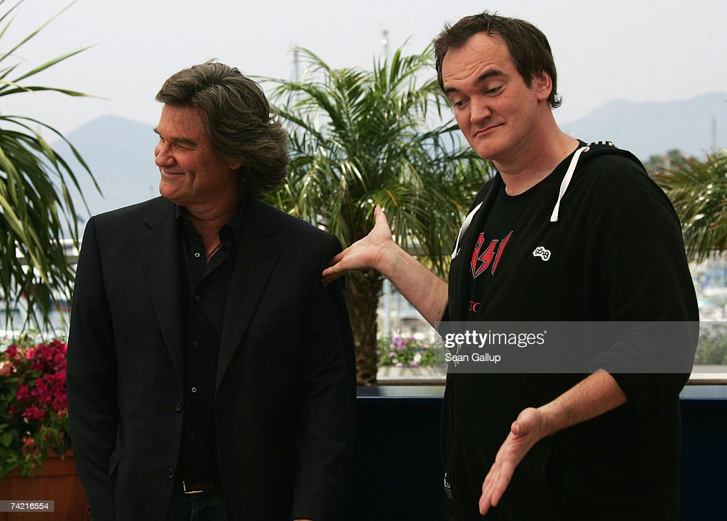 Actor Kurt Russell and director Quentin Tarantino attend a photocall promoting the film 'Death Proof' at the Palais des Festivals during the 60th International Cannes Film Festival on May 22, 2007 in Cannes, France.