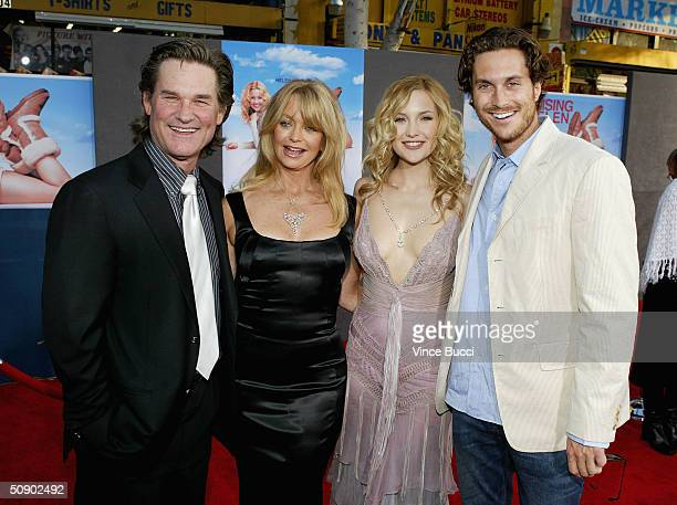 Actor Kurt Russell, his partner, actress Goldie Hawn, and her children, actress Kate Hudson and actor Oliver Hudson, attend the film premiere of the...