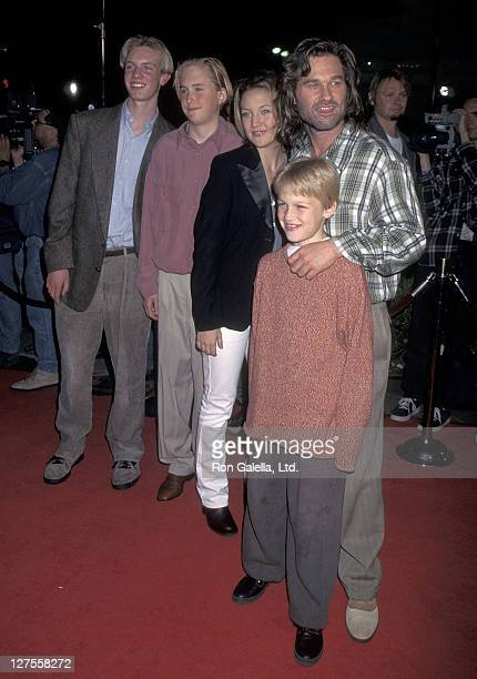 Actor Kurt Russell son Boston Russell stepdaughter Kate Hudson and son Wyatt Russell attend the Executive Decision Westwood Premiere on March 11 1996...