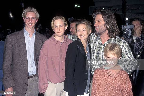 Actor Kurt Russell son Boston Russell stepdaughter Kate Hudson and son Wyatt Russell attend the 'Executive Decision' Westwood Premiere on March 11...