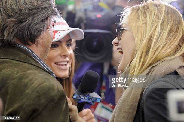 Actor Kurt Russell TV personality Maria Menounos and actress Kate Hudson during the Super Bowl XLII pregame show on February 3 2008 at University of...