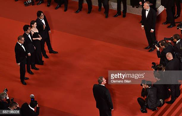 Actor Kwak do Won actress Chun Woo Hee director Na HongJin and actor Kunimura Jun attend The Strangers Premiere during the 69th annual Cannes Film...