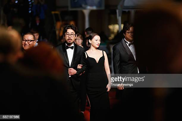 Actor Kwak Dowon actress Chun WooHee director Na HongJin and actor Jun Kunimura attend The Strangers Premiere during the 69th annual Cannes Film...