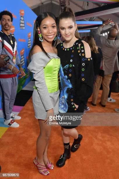 Actor Kyla Drew Simmons and Chloe East attend Nickelodeon's 2018 Kids' Choice Awards at The Forum on March 24 2018 in Inglewood California