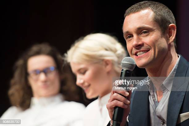 Actor Kyle Allen actress Sarah Jones and actor Hugh Dancy on stage during SCAD aTVfest 2016 Day1The Path at SCADShow Perfoming Arts Theater on...