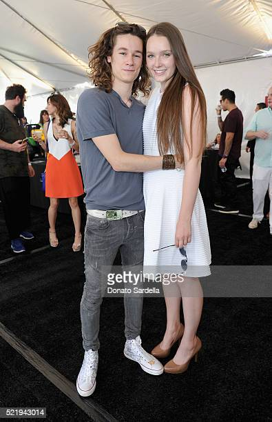 Actor Kyle Allen and actress Amy Forsyth attend the John Varvatos 13th Annual Stuart House benefit presented by Chrysler with Kids' Tent by Hasbro...