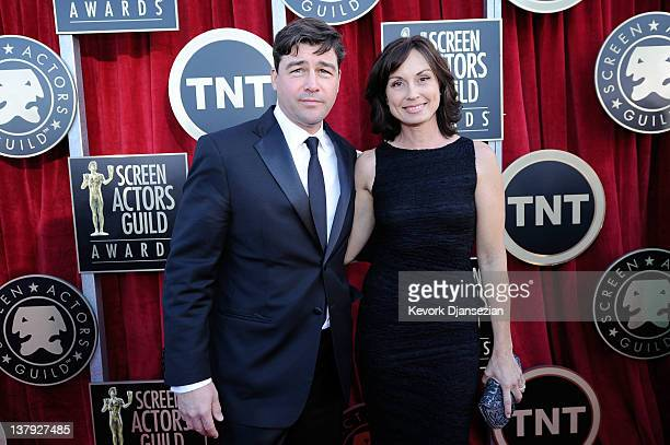 Actor Kyle Chandler and Kathryn Chandler arrives at the 18th Annual Screen Actors Guild Awards at The Shrine Auditorium on January 29 2012 in Los...