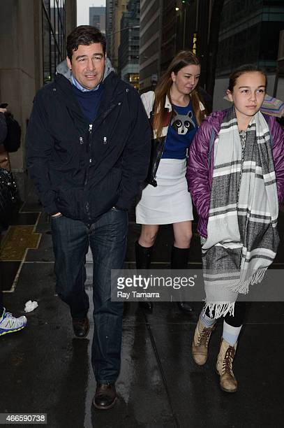 """Actor Kyle Chandler and Sawyer Chandler leave the """"Today Show"""" taping at the NBC Rockefeller Center Studio on March 17, 2015 in New York City."""