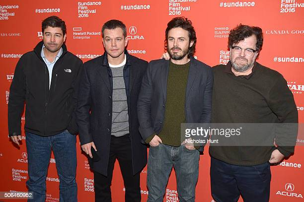 Actor Kyle Chandler producer Matt Damon actor Casey Affleck and writer/director Kenneth Lonergan attend the 'Manchester By The Sea' Premiere during...