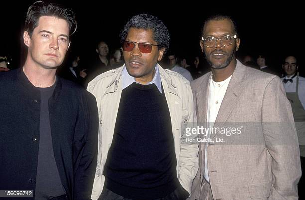 Actor Kyle MacLachlan Actor Clarence Williams III and Actor Samuel L Jackson attend the 'Against the Wall' West Hollywood Premiere on March 9 1994 at...