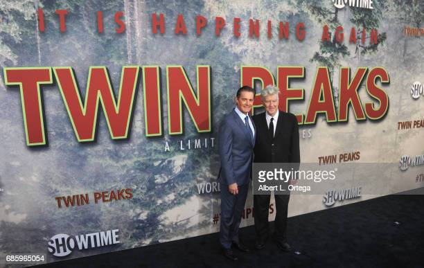 Actor Kyle MacLachlan and director David Lynch arrive for the Premiere Of Showtime's 'Twin Peaks' held at Ace Hotel on May 19 2017 in Los Angeles...