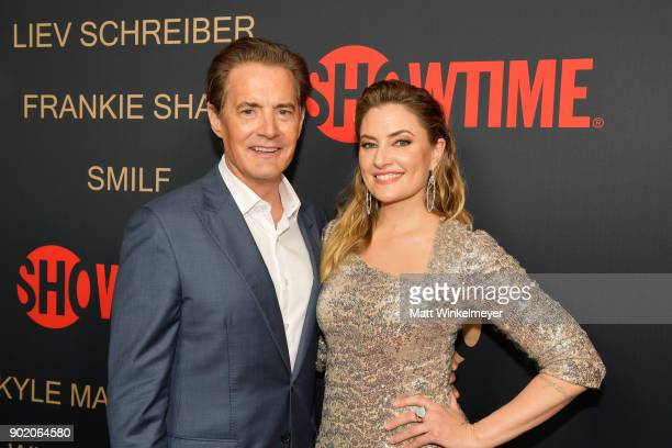 Actor Kyle MacLachlan and Madchen Amick arrive for the Showtime Golden Globe Nominees Celebration at Sunset Tower on January 6 2018 in Los Angeles...