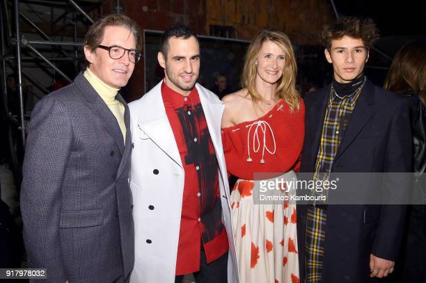Actor Kyle MacLachlan JeanGeorges d'Orazio Laura Dern and Ellery Walker Harper attend the Calvin Klein Collection front row during New York Fashion...