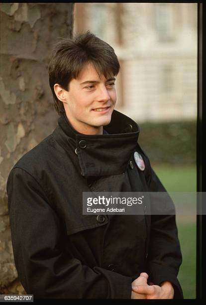 Actor Kyle MacLachlan wears a button for Dune, the motion picture in which he debuted. David Lynch directed the film based on a novel of the same...