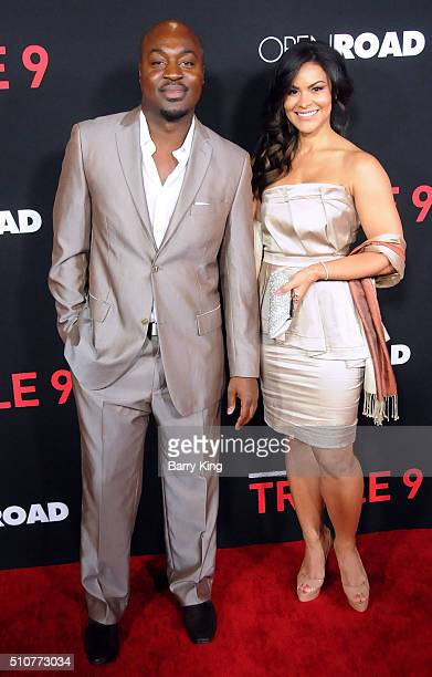 Actor LaBrandon Shead and guest attend the Premiere of Open Road's 'Triple 9' at Regal Cinemas LA Live on February 16 2016 in Los Angeles California