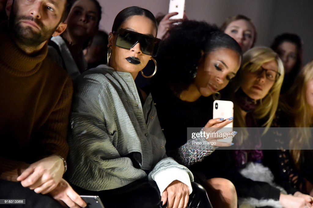 Actor LaLa Anthony and recording artist Kelly Rowland attend the Esteban Cortazar front row during New York Fashion Week: The Shows at Gallery I at Spring Studios on February 14, 2018 in New York City.