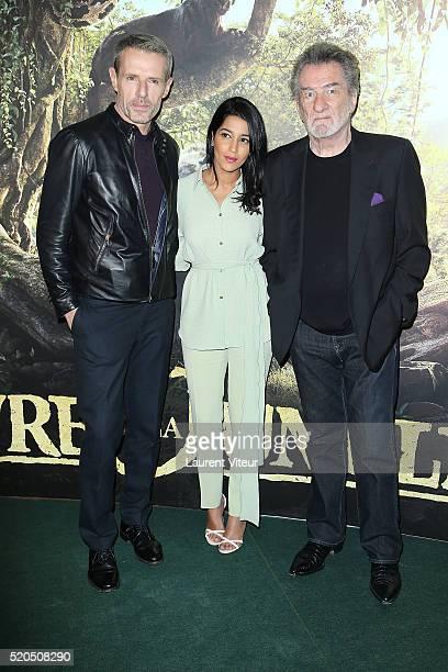 Actor Lambert Wilson Actress Leila Bekhti and Singer Eddy Mitchell attend Le Livre De La Jungle Paris Premiere at Cinema Pathe Beaugrenelle on April...