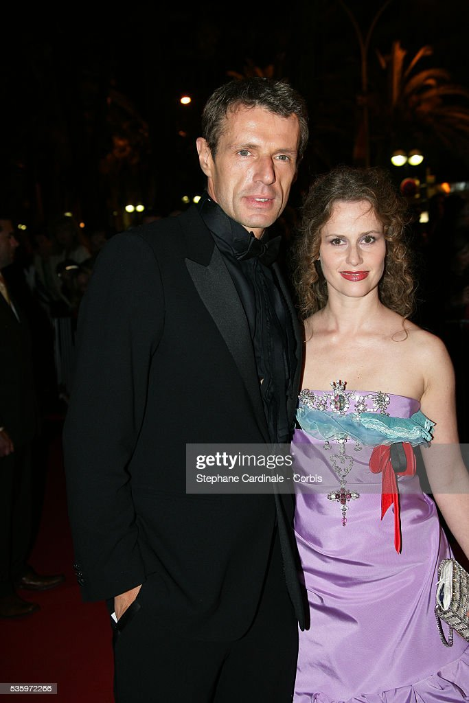 Actor Lambert Wilson and actress Sophie Darel attend the closing ceremony dinner during the 58th Cannes Film Festival.
