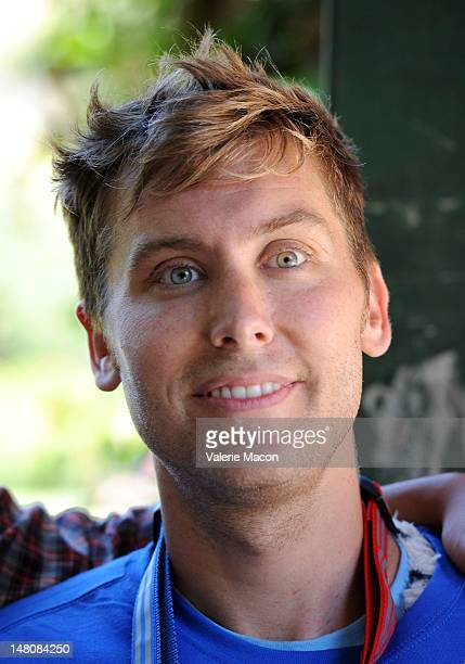 Actor Lance Bass poses in Runyon Canyon during The Power Of 2 Event on July 9 2012 in Los Angeles California