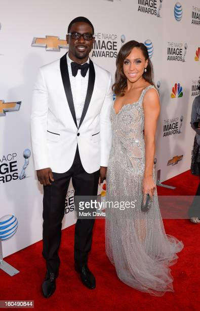 Actor Lance Gross and guest attend the 44th NAACP Image Awards at The Shrine Auditorium on February 1 2013 in Los Angeles California