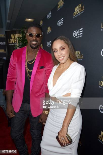 Actor Lance Gross and wife Rebecca Jefferson attend the Premiere Of TV One's 'When Love Kills' at Harmony Gold on August 22 2017 in Los Angeles...