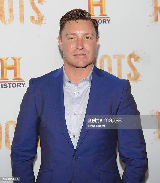 Actor Lane Garrison attends the premiere screening of Night One of the four night epic event series Roots hosted by HISTORY at Alice Tully Hall on...